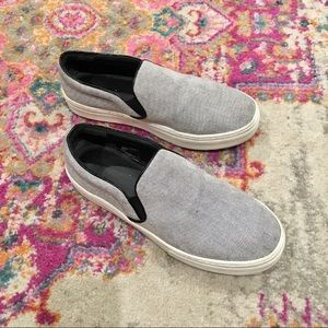 Celine Gray Textured Slip On Tennis Shoes 38